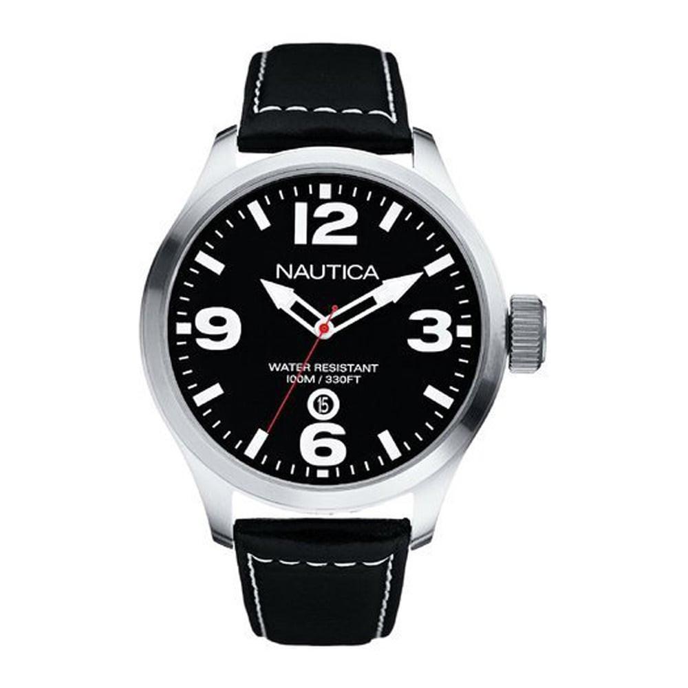 bcc2e3d866c Nautica pulseira de relogio A12561G Couro Preto - Encomende agora no ...