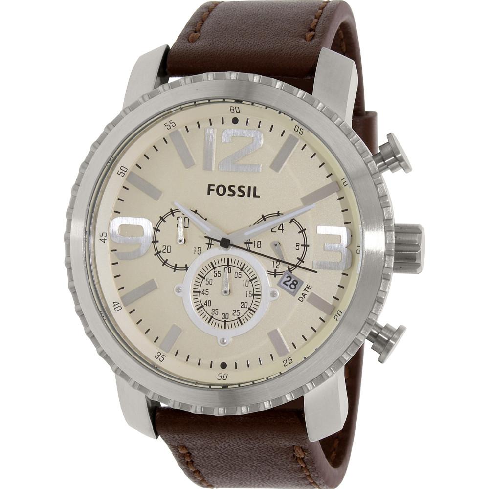 a4035278c19 Fossil pulseira de relogio BQ1177 Couro Marrom + costura marrom