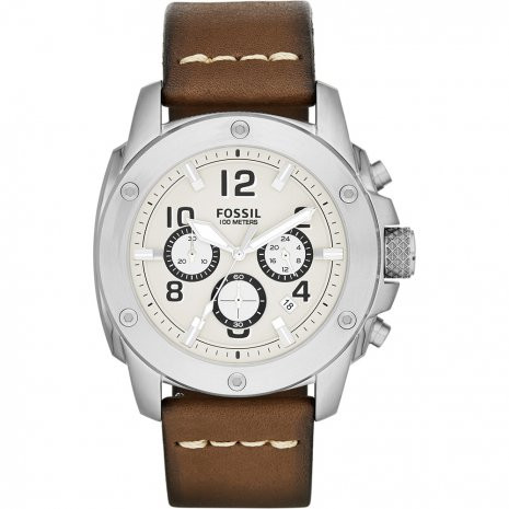 bb18dec6ce0 Fossil pulseira de relogio FS4929 Couro Marrom 24mm + costura branca
