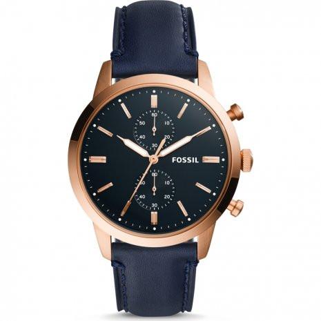 9df42f9767b Pulseira de relógio Fossil FS5436 Couro Azul 22mm