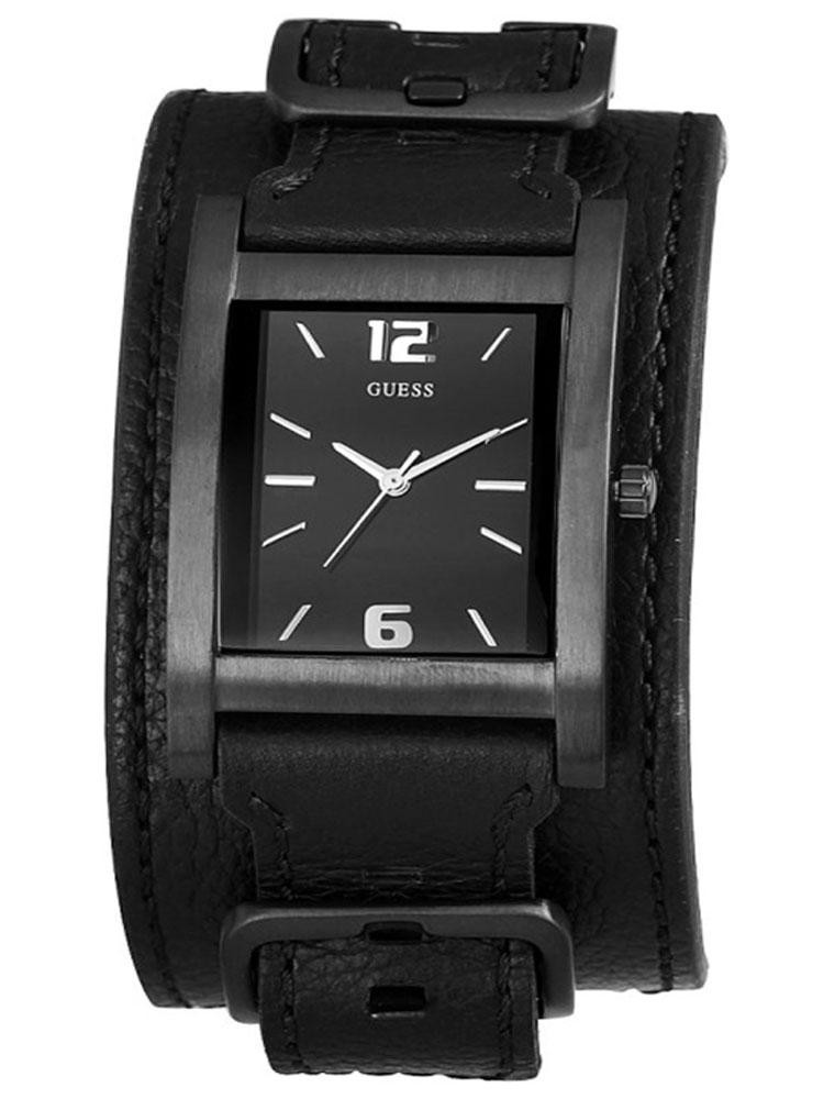fb39cc96293 Pulseira de relógio Guess W10609G1   W85094G1 Couro Preto 24mm