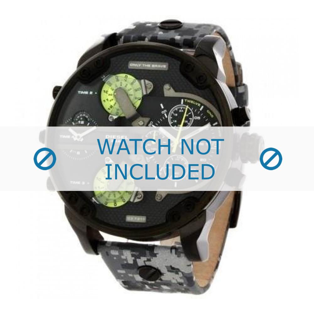 a537106540a 100% ORIGINAL. Pulseira de relógio Diesel DZ7311 Couro Cinza 28mm