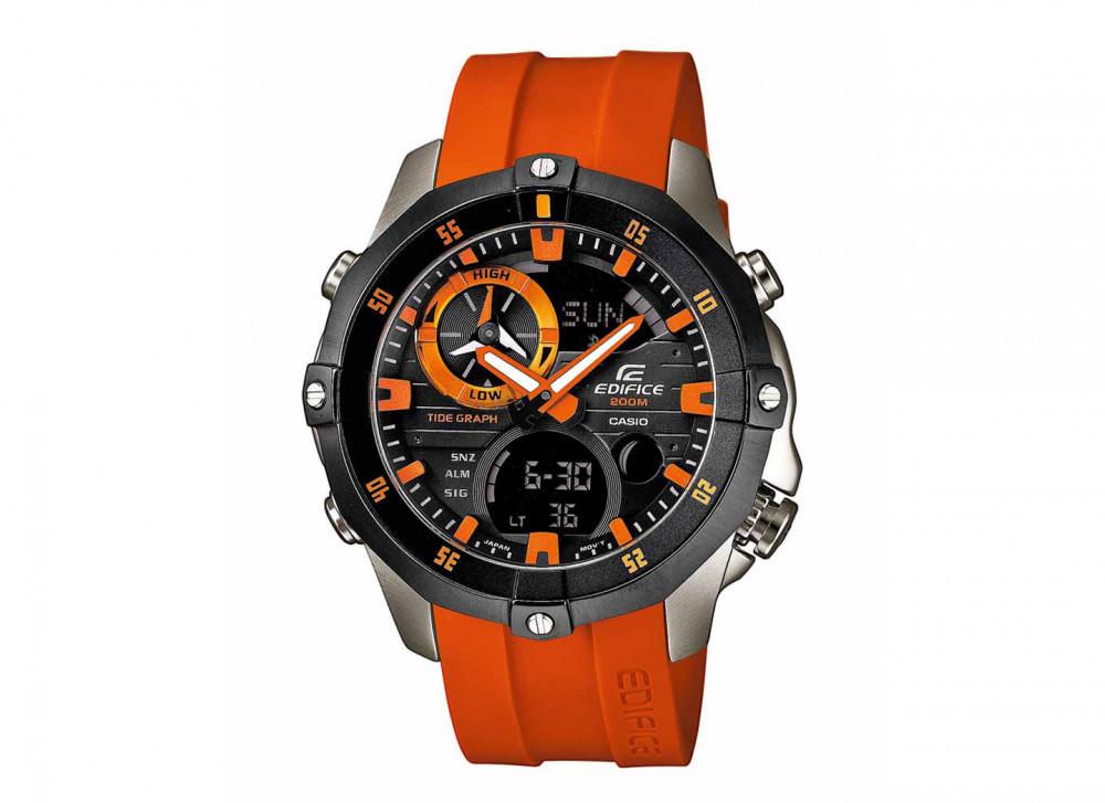 7f5ffd9923d Pulseira de relógio Casio EMA-100B-1A4V   5299   10449650 Borracha Laranja  22mm