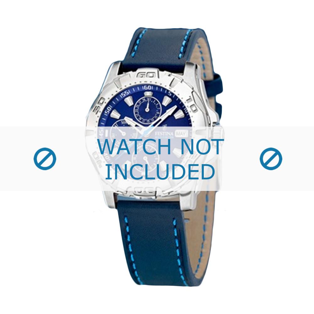 c2138e3fa47 Pulseira de relógio Festina F16243 7 Couro Azul 21mm