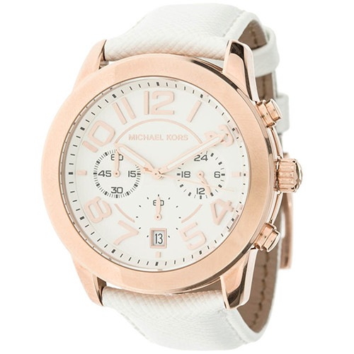 5676a3375 Michael Kors pulseira de relógio MK-2289 Couro Branco 22mm