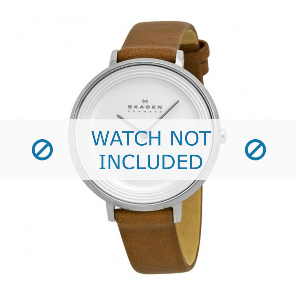 135e900f273 Pulseira de relógio Skagen SKW2214 Couro Conhaque 14mm