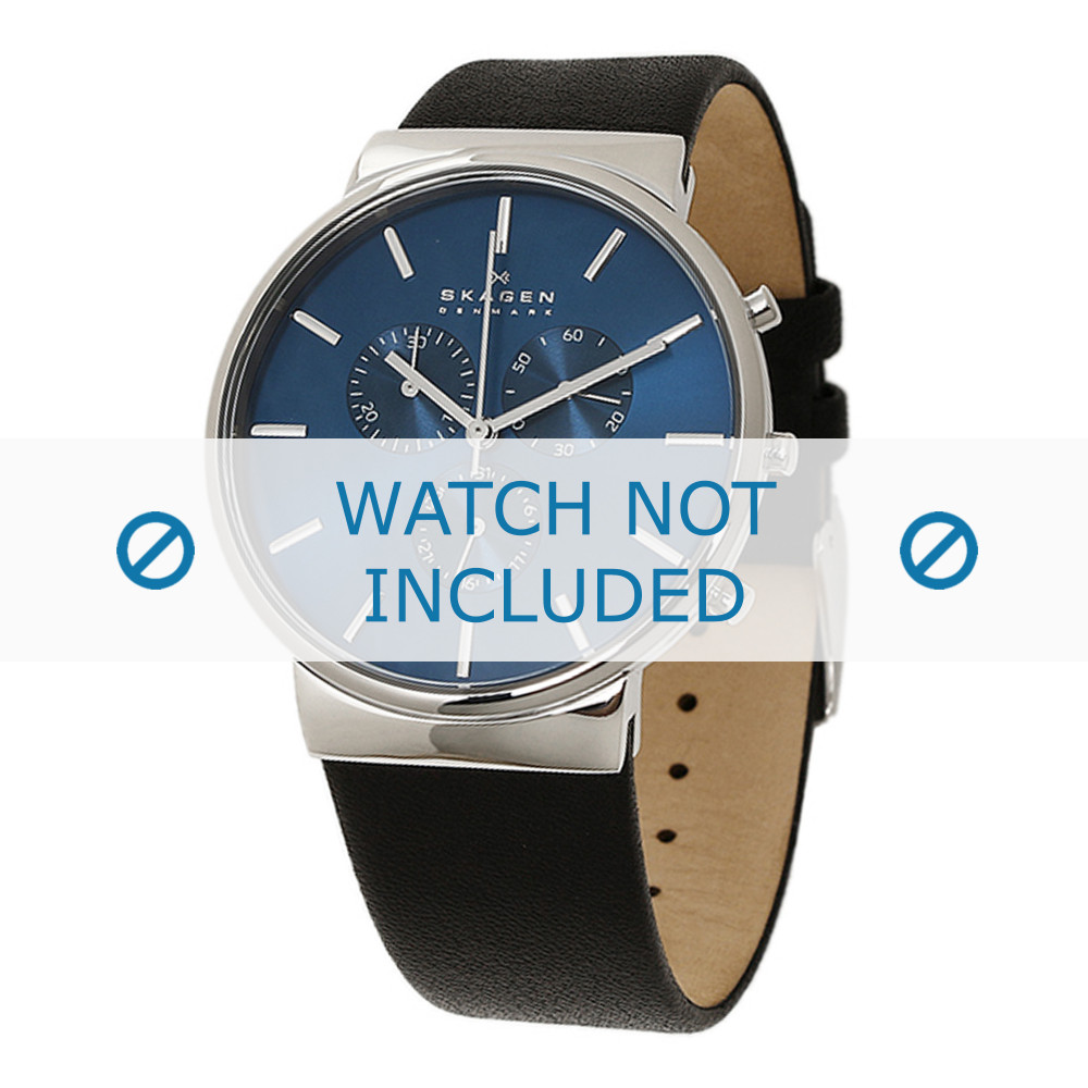 e3f146928b4 Pulseira de relógio Skagen SKW6105   247XXX and 25XXXX Couro Preto 23mm