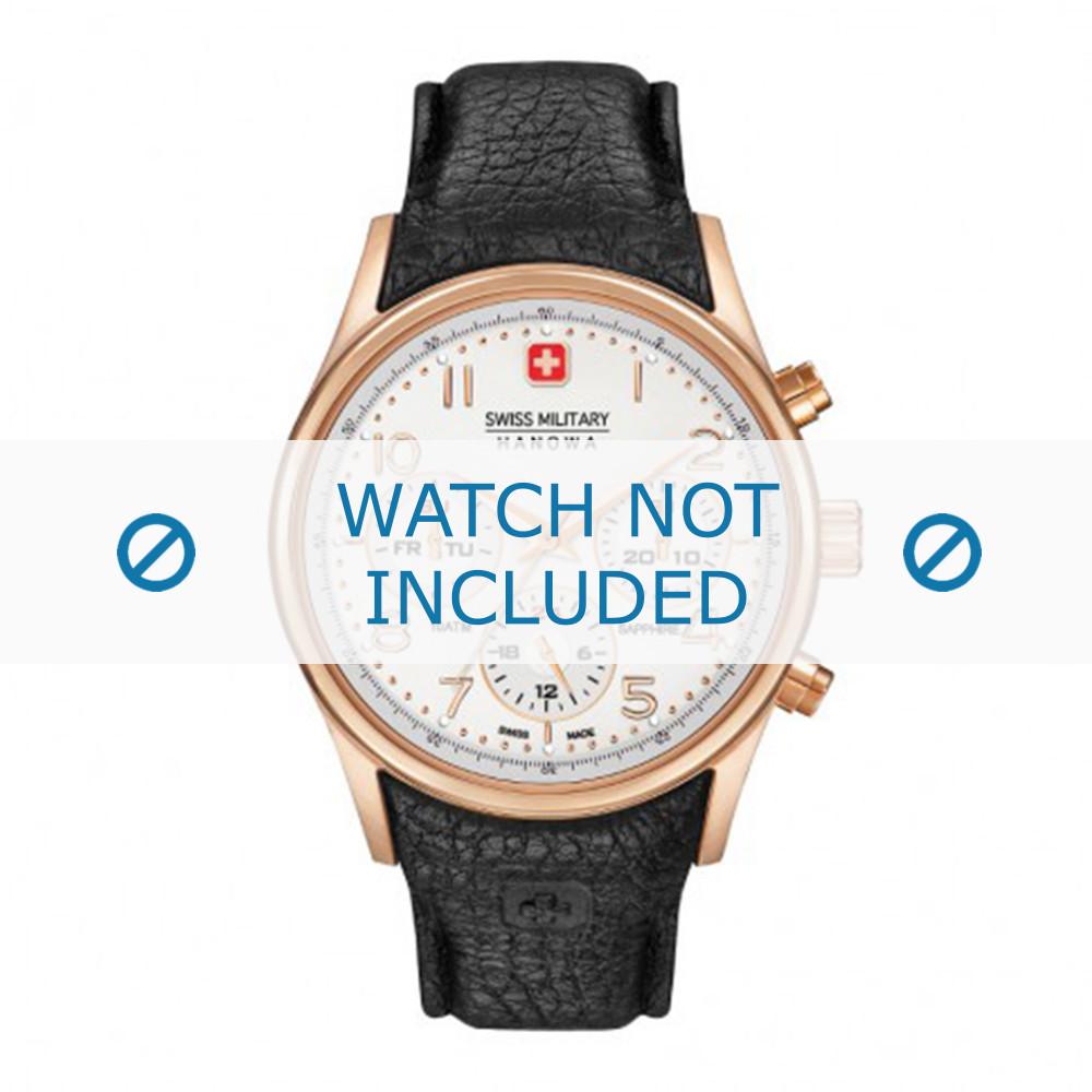 cd6df44c3d2 Pulseira de relógio Swiss Military Hanowa 06-4278.09.001-Rosé Buckle Couro  Preto