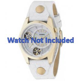 Pulseira de relógio Fossil ME1039 Couro Branco 18mm