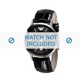 Pulseira de relógio Armani AR2411 Couro Preto 22mm