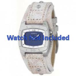 Pulseira de relógio Fossil BG2043 Couro Bege 20mm