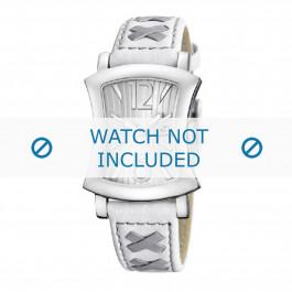Calypso pulseira de relogio K5198-1 Couro Branco 17mm + costura cinza