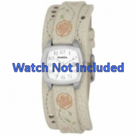 Pulseira de relógio Fossil JR8782 Couro Bege 12mm
