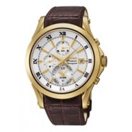 Pulseira de relógio Seiko 7T62-0JW0 / SNAF22P1 / 4A071KL Couro Marrom 21mm