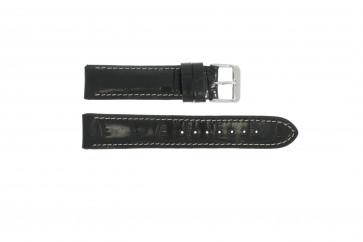 Bracelete em pele genuína crododilo preta 18mm WP-61324
