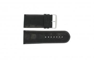 Bracelete em pele genuína crododilo preto 28mm WP-61324