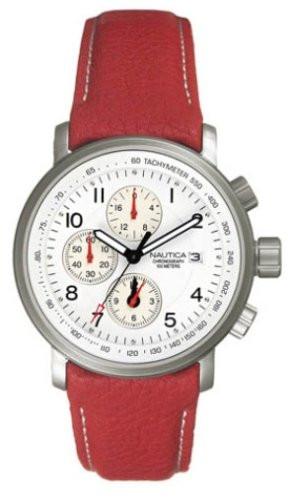 c1a867a6476 Nautica pulseira de relogio A11012 Couro Vermelho 22mm + costura branca