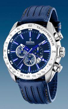07b8635d361 Pulseira de relógio Festina F16489 B Couro Azul 25mm
