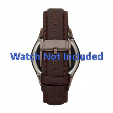 Fossil pulseira de relogio ME1123 Couro Castanho escuro 22mm + costura padrão