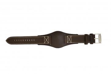Fossil pulseira de relógio CH2599 Couro Castanho escuro 22mm