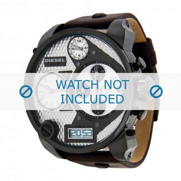 Diesel pulseira de relogio DZ7126 Couro Castanho escuro 29mm