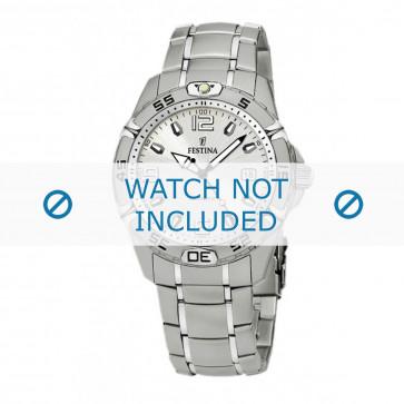 Festina pulseira de relógio F16180/5 Couro Conhaque 21mm + costura branca
