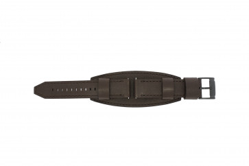 Fossil pulseira de relógio JR1365 Couro Castanho escuro 22mm