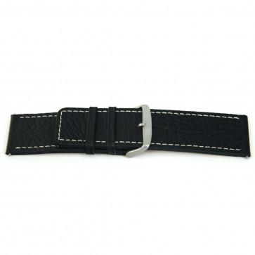 Bracelete em pele genuína em preto com costura branca 30mm H79