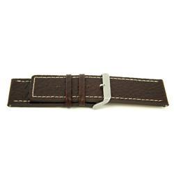Bracelete em pele genuína em castanho com costura branca 30mm H79