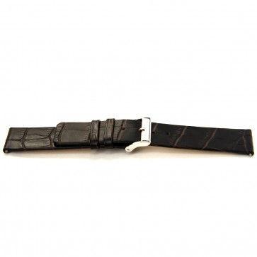 Bracelete em pele de búfalo castanho escuro 22mm J-53