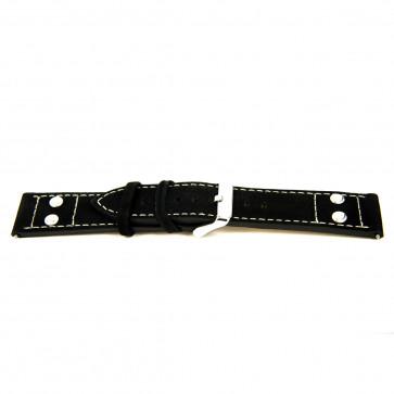 """Bracelete em pele genuína preta """"estrutura grosseira"""" 24mm EX-K469"""