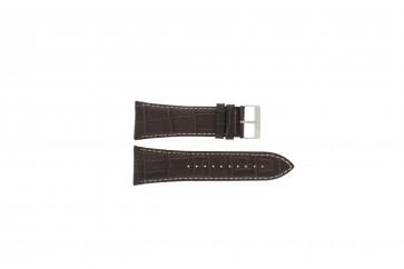 Lorus pulseira de relógio VD57-X023 Couro Castanho 28mm + costura branca