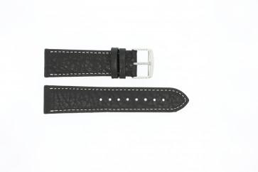 Pulseira de relogio 307.01 Couro Preto 20mm + costura branca