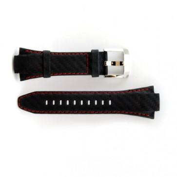 Bracelete Seiko em pele genuína com costura vermelha 7T62-0ED0 SNA633P1