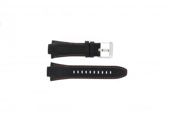 Pulseira de relógio Seiko 7T62-0ED0 / H023 00C0 / SNJ007P Couro Preto 15mm