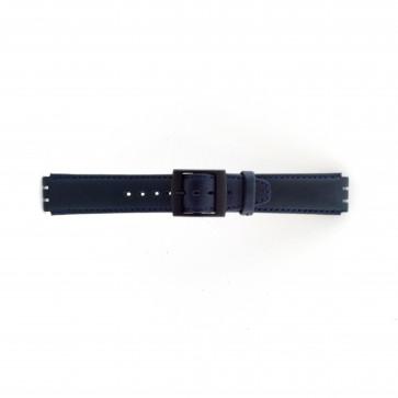 Pulseira de relógio Swatch SC11.05 Couro Azul 17mm