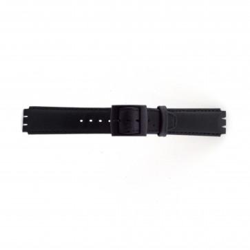 Pulseira de relógio Swatch SC11.01 Couro Preto 17mm