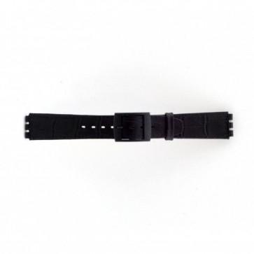 Bracelete para Swatch preta motivos crocodilo 16mm PVK-SC16.01