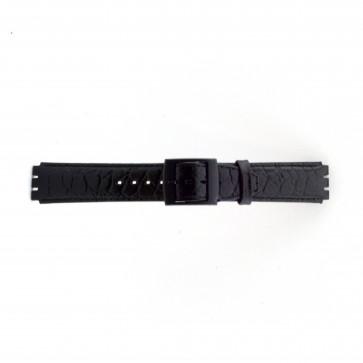Pulseira de relógio Swatch SC10.01 Couro Preto 17mm
