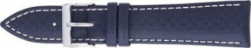 Pulseira de relógio carbono azul escuro com branco 24 milímetros costura PVK-321