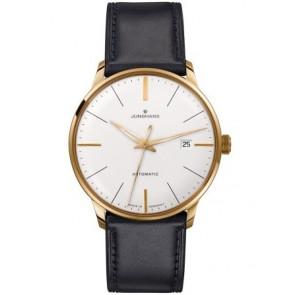 Pulseira de relógio Junghans 42050-6249 / 027/7312 Couro Preto 20mm