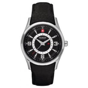 cc48b247067 Pulseira de relógio Swiss Military Hanowa 06-6155.04.007 Couro Preto