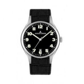 Pulseira de relógio Jacques Lemans 1-1426 Couro croco Preto