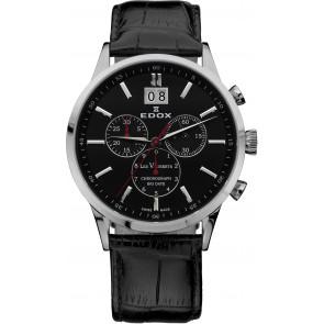 Pulseira de relógio Edox 10010-473282-222194 Couro Preto 21mm