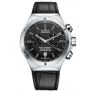 Edox pulseira de relogio 10107 Couro Preto + costura preto