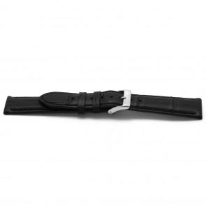 pulseira de couro genuíno Alligator preto 22mm EX-H134