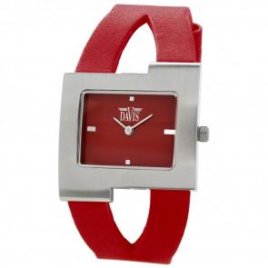 Pulseira de relógio Davis BB1404 Couro Vermelho 10mm