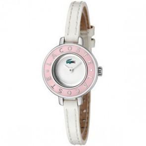Lacoste pulseira de relogio LC-15-3-14-0083 / 2000390 Couro Branco 6mm + costura branca