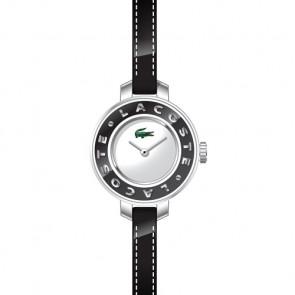 Lacoste pulseira de relogio LC-15-3-14-0084 / 2000391 Couro Preto 6mm + costura preto