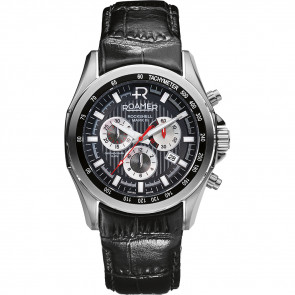 Roamer pulseira de relogio 220837-49-25-02 Couro Preto 22mm + costura padrão